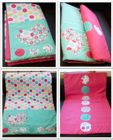 77 - Couverture turquoise framboise