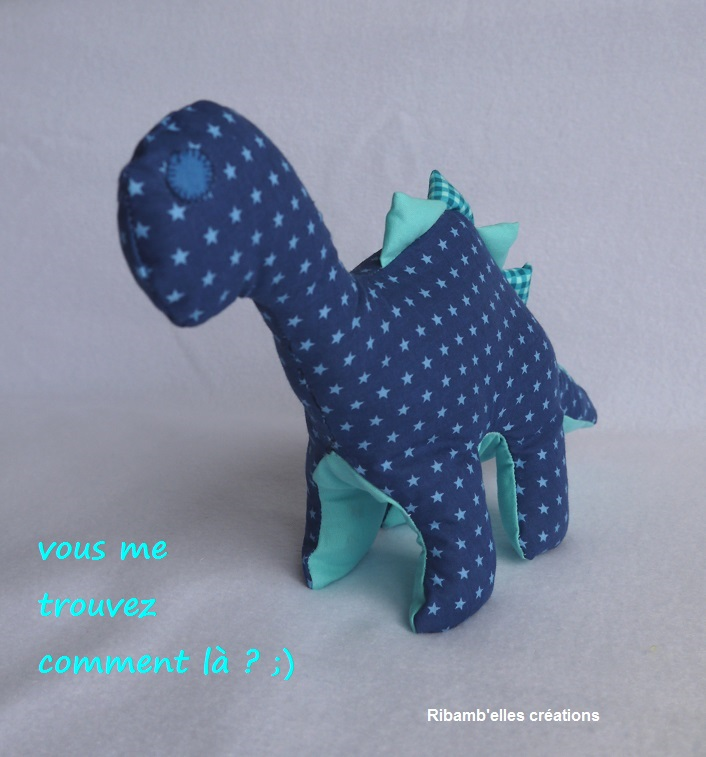 85 - Doudou dinosaure bleu 4