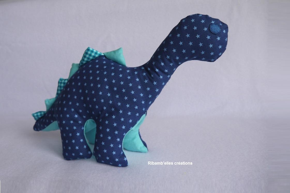 85 - Doudou dinosaure bleu une