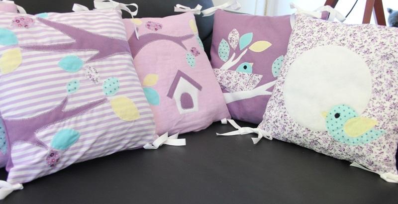 tour de lit mauve th me oiseaux ribamb 39 elles. Black Bedroom Furniture Sets. Home Design Ideas