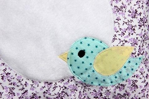 86 - Tour de lit nature oiseau mauve lilas 6