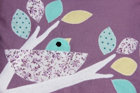 86 - Tour de lit nature oiseau mauve lilas 7