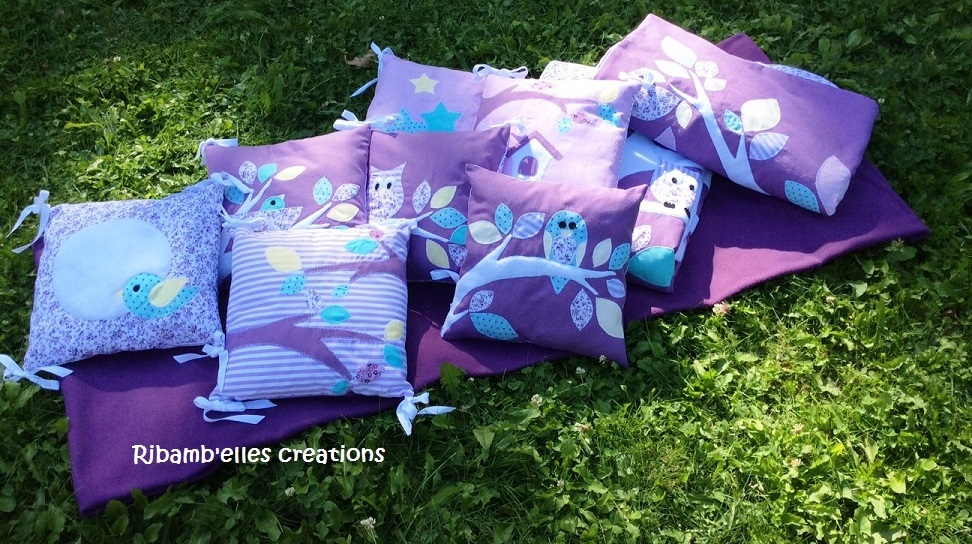 Collection hibou violet mauve couverture tour de lit 2