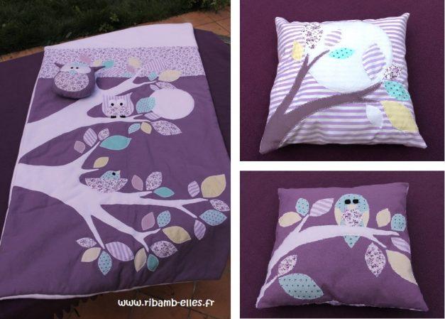 Collection hibou violet mauve couverture tour de lit 3
