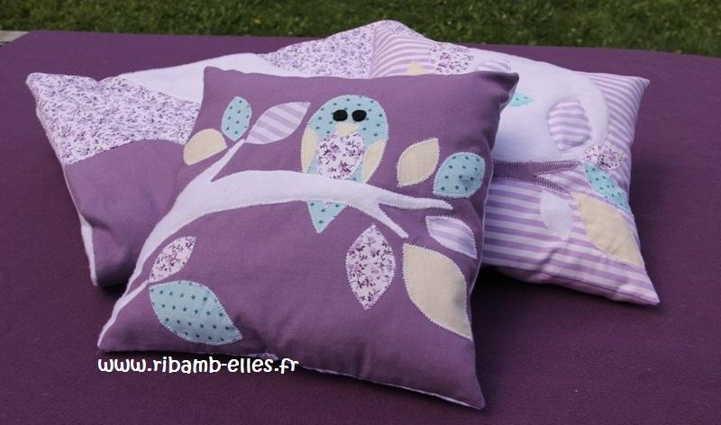 Coussin tour de lit hibou violet mauve