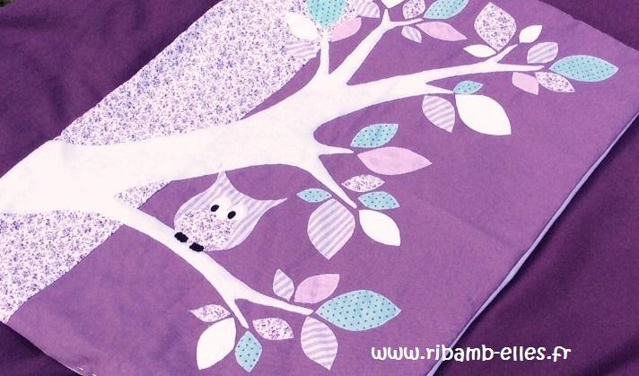Couverture hibou foret violet mauve 01