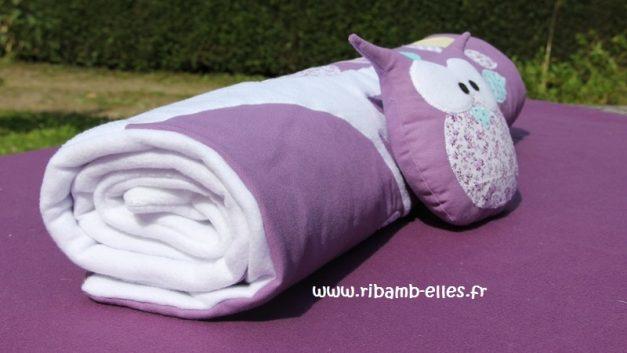 Couverture tour de lit hibou violet mauve 02