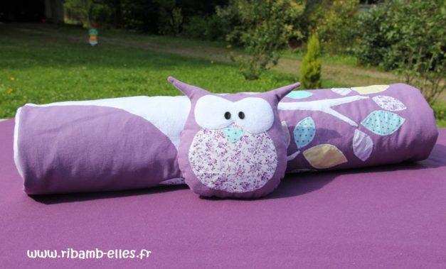 Couverture tour de lit hibou violet mauve