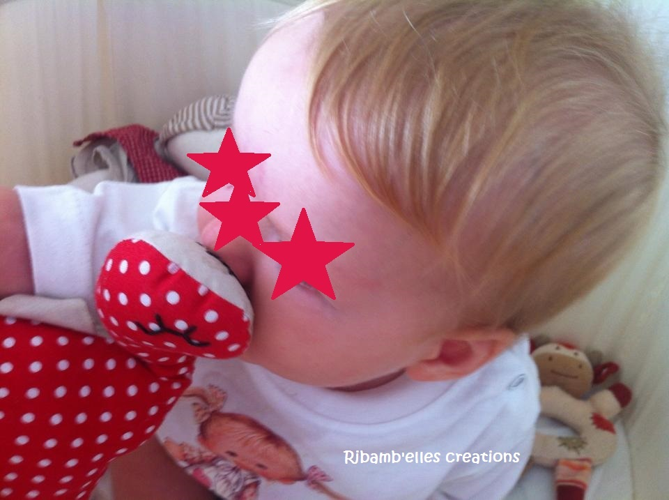 Ribamb'elles - Doudou dino rouge beige 4