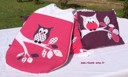 Collection Hibou prune & rose framboise