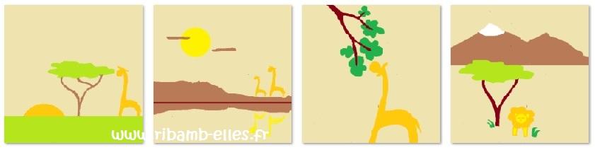 Tour de lit rose violet parme girafes 02