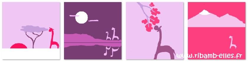 Tour de lit rose violet parme girafes 03