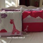 Tour de lit rose violet parme girafes 04