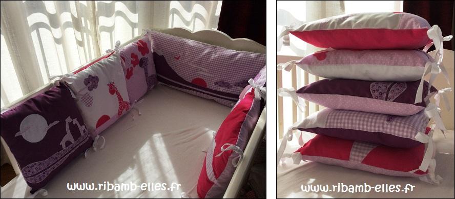 Tour de lit rose violet parme girafes 09