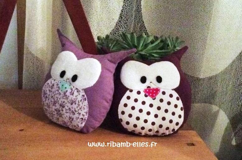 Doudou hibou chouette violet mauve
