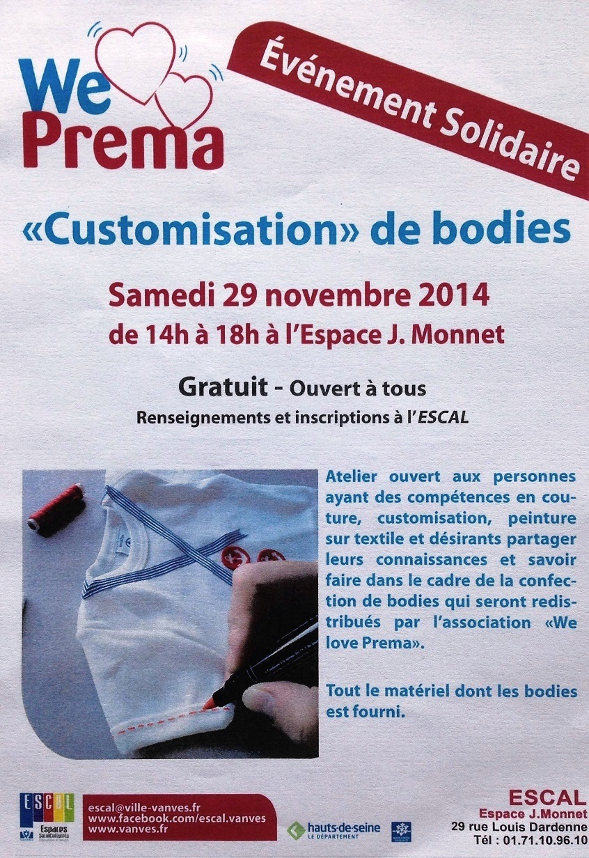 Opération We Love Prema - atelier customisation info