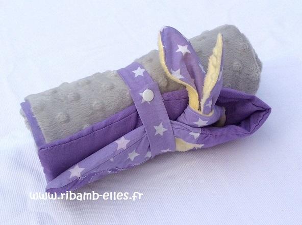 Kit à langer de voyage violet jaune gris