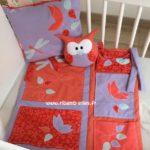 Vide poche de lit rouge corail mauve turquoise 01