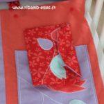 Vide poche de lit rouge corail mauve turquoise 03