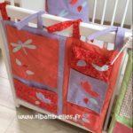 Vide poche de lit rouge corail mauve turquoise 04