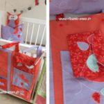 Vide poche de lit rouge corail mauve turquoise 05