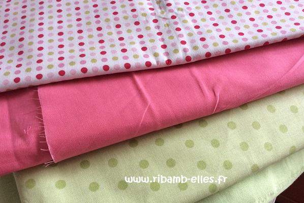 Vide poche de lit tissus vert rose