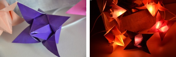 Guirlande lumineuse origami fleurs de lotus 3