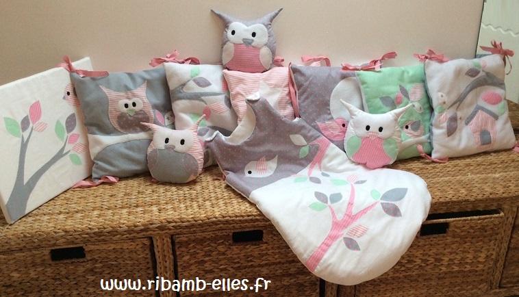 Collection complète hibou rose gris vert tour de lit gigoteuse tableau 1
