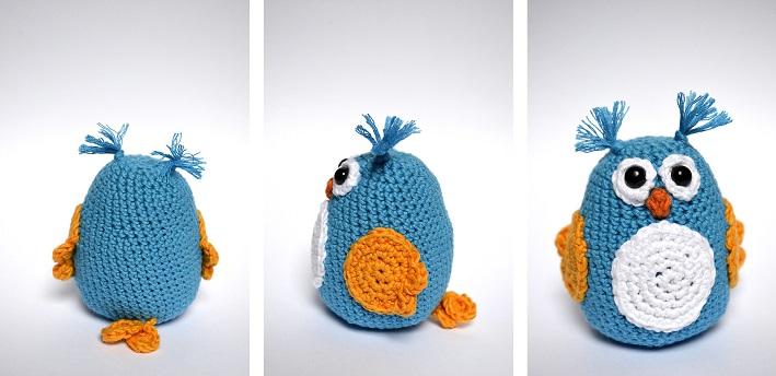 Hibou crochet jaune et bleu