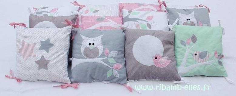 Tour de lit hibou gris rose vert