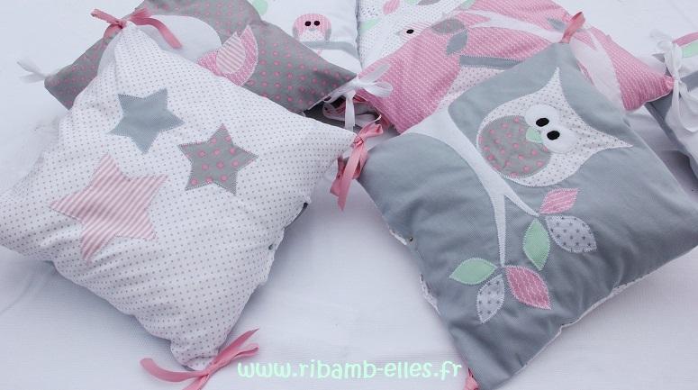 Tour de lit hibou gris rose