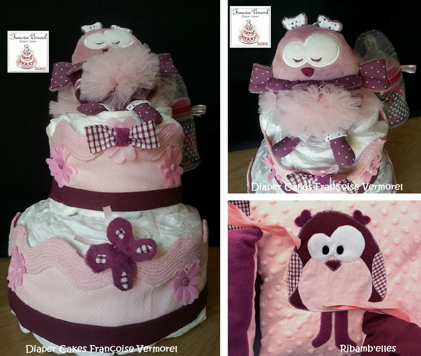 Diaper cakes Francoise Vermorel & Tour de parc hiboux Ribamb'elles