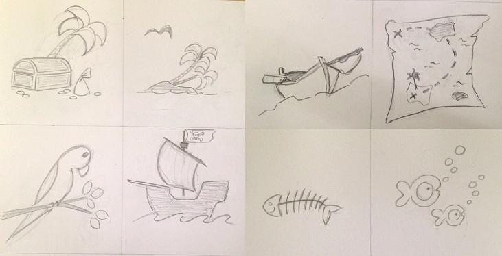 Ribamb'elles croquis dessins thème pirates
