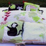 Tour de lit jungle singe vert