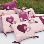 Tour de parc hiboux 9 coussins rose prune