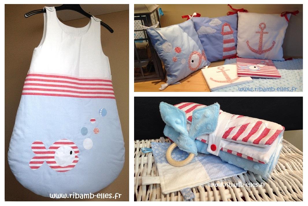 Tour de lit coussins cadres kit à langer thème mer bleu rouge - Copie