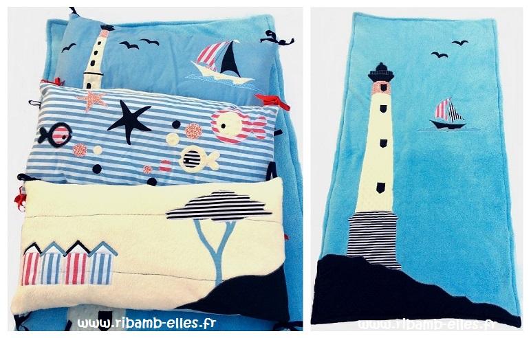 Tour de lit coussins couverture doudou thème mer bleu rouge