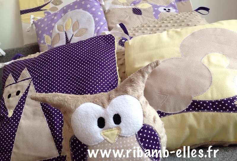 Collection tour de lit hibou beige doré violet jaune
