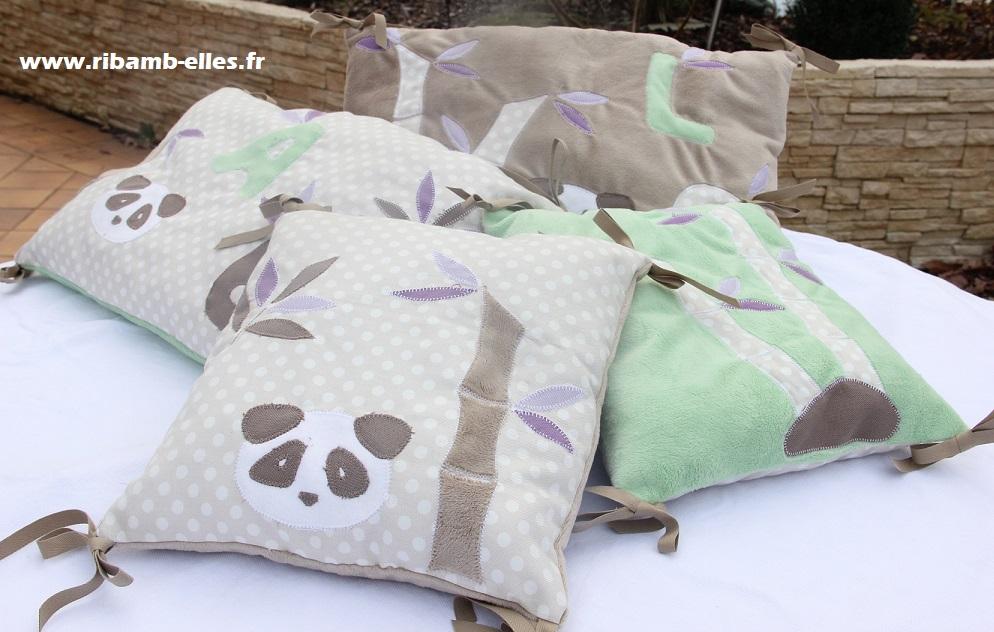 tour de lit panda vert taupe violet ribamb 39 elles. Black Bedroom Furniture Sets. Home Design Ideas