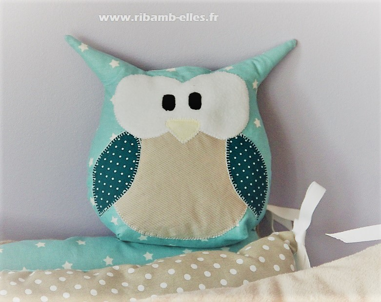 Collection hibou Taupe Bleu et Turquoise